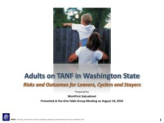 Adults on TANF in Washington State Risks and Outcomes for Leavers, Cyclers and  Stayers