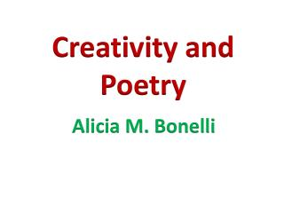 Creativity and Poetry