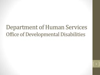 Department of Human Services Office of Developmental Disabilities