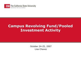 Campus Revolving Fund/Pooled Investment Activity