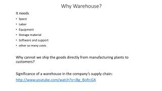 Why Warehouse?