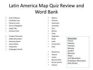 Latin America Map Quiz Review and Word Bank