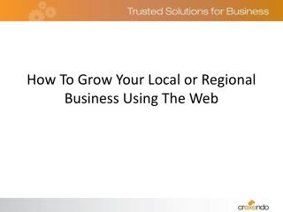 How To Grow Your Local or Regional Business Using The Web