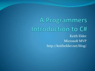 A Programmers Introduction to C#