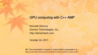 GPU computing with C++  AMP