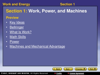 Section 1: Work, Power, and Machines