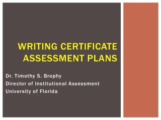Writing Certificate Assessment Plans