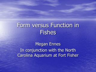 Form versus Function in Fishes