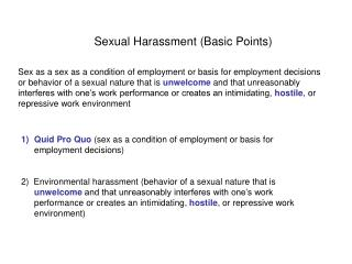 Sexual Harassment (Basic Points)