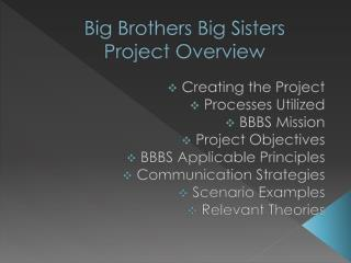 Big Brothers Big Sisters  Project Overview