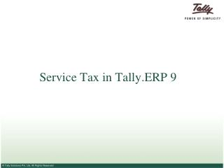 Service Tax in Tally.ERP 9