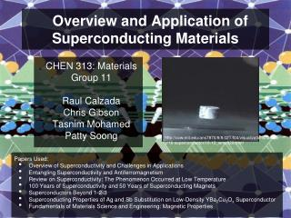 Overview and Application of Superconducting Materials