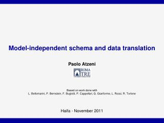 Model-independent schema and data translation