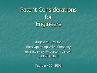 Patent Considerations for Engineers