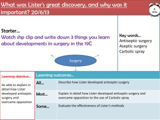 What was Lister's great discovery, and why was it  important? 20/6/13