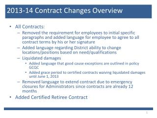 2013-14 Contract Changes Overview