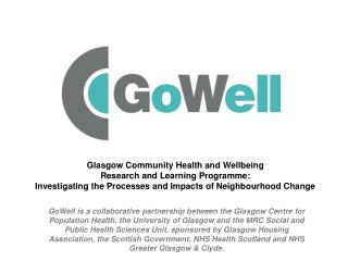 Glasgow Community Health and Wellbeing Research and Learning Programme:
