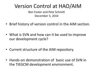 Version Control at  HAO /AIM