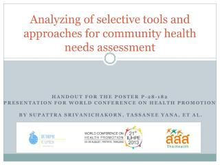 Analyzing  of  selective tools and approaches  for community health needs  assessment
