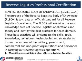 REVERSE LOGISTICS BODY OF KNOWLEDGE ( provided  by APU )