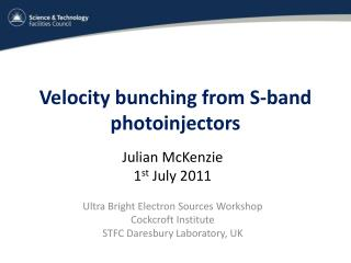 Velocity bunching from S-band  photoinjectors