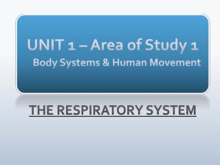 UNIT 1 – Area of Study 1 Body Systems & Human Movement