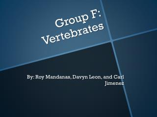 Group F: Vertebrates