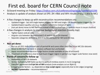 First ed.  board for CERN Council note