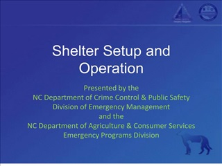 Shelter Setup and Operation