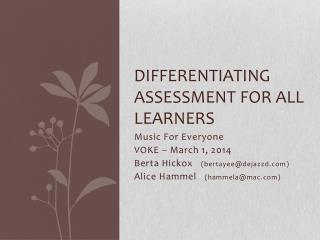 Differentiating Assessment for all learners