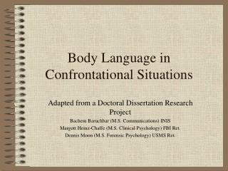 Body Language in Confrontational Situations