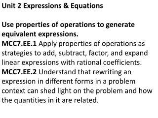 Unit 2 Expressions & Equations