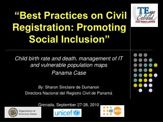 """Best Practices on Civil Registration: Promoting Social Inclusion"""