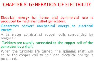 CHAPTER 8: GENERATION OF ELECTRICITY
