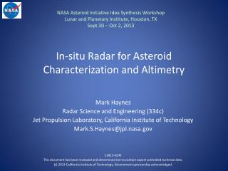 In-situ Radar for Asteroid Characterization and Altimetry