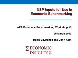 NSP Inputs for Use in  Economic Benchmarking