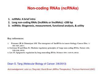 Non-coding RNAs ( ncRNAs )