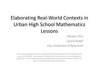 Elaborating Real-World  Contexts in Urban High School Mathematics Lessons