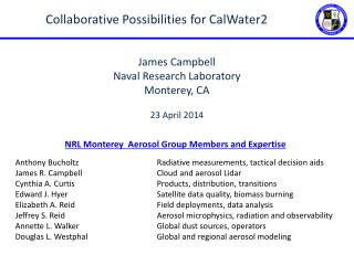 NRL Monterey  Aerosol Group Members  and Expertise