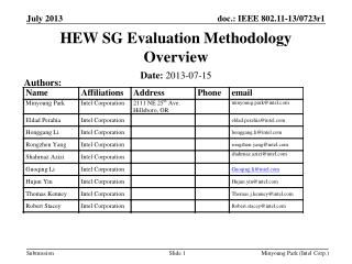 HEW SG Evaluation Methodology Overview