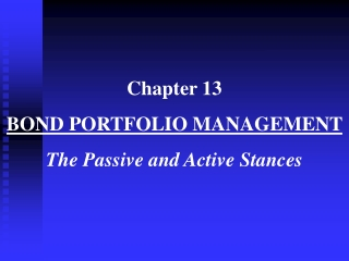 Chapter 13 Fixed Income Portfolio Management