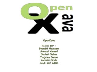 OpenXava Réalisé par : Ghandri Houssem Snoussi Ahmed Souissi Salma Torjmen Salma Yacoubi Sinda