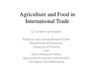 Agriculture and Food in International Trade