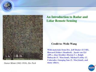 An Introduction to Radar and Lidar Remote Sensing