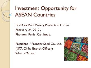 Investment Opportunity for ASEAN Countries