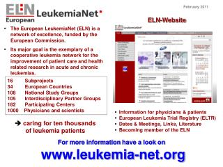 Information for physicians & patients European Leukemia Trial Registry (ELTR)
