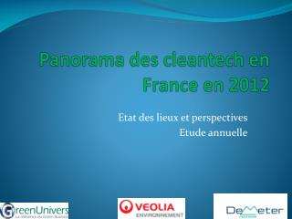 Panorama des  cleantech  en France en 2012