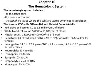 Chapter 10 The Hematologic System The hematologic system includes      - all the  blood cells ,