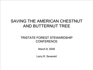 SAVING THE AMERICAN CHESTNUT  AND BUTTERNUT TREE