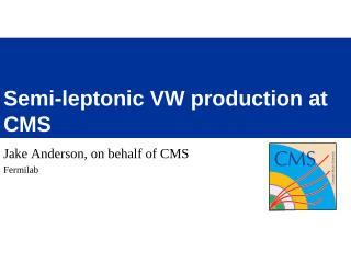 Semi-leptonic VW production at CMS